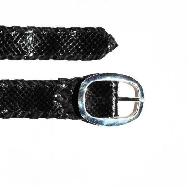 Lost Art Snakeskin Belt in black with a metallic silver buckle (detail view)