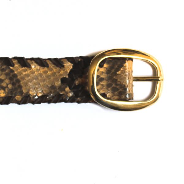 Lost Art Snakeskin Belt in natural with a brass buckle (detail view)