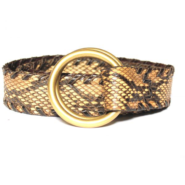 Lost Art Double Ring Python Belt in Natural