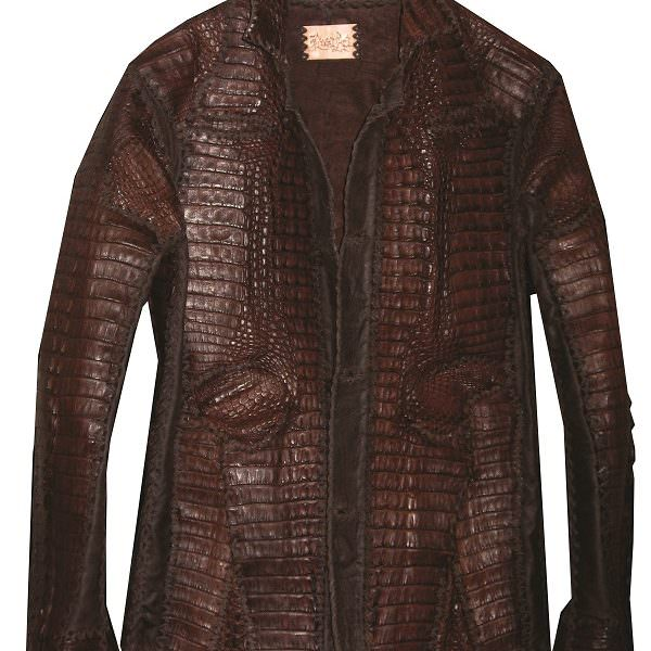 Lost Art Mens Crocodile skin Jacket in Burgundy color