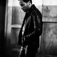 Singer songwriter Lenny Kravitz wearing a Lost Art Python skin Jacket