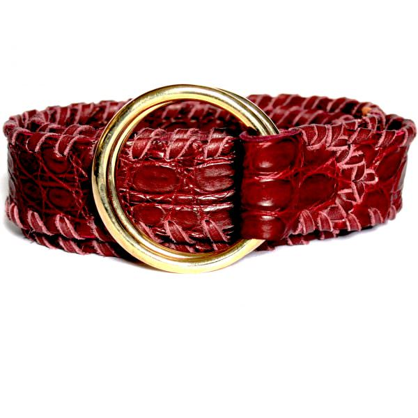 Lost Art Alligator Ring Belt with Brass rings and leather whipstitching