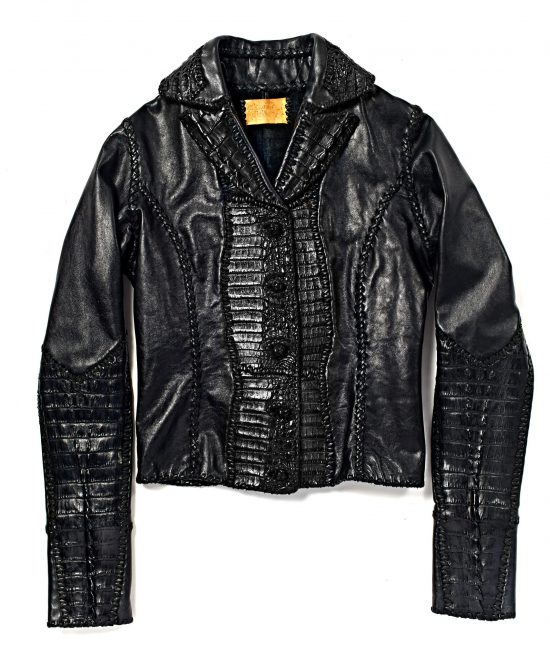 Lost Art Leather Jacket with Alligator Detail for women